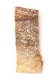 Gezouten kabeljauw of zoute die kabeljauw op een witte achtergrond worden geïsoleerd Royalty-vrije Stock Afbeeldingen