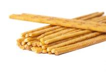 Gezouten pretzels op een wit stock foto's