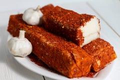 Gezouten varkensvleesreuzel met hete peper Stock Foto's