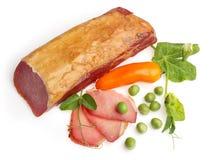 Gezouten visvlees dat met oranje peper wordt verfraaid? Stock Foto