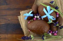 Ägg för påskchokladpåsk Fotografering för Bildbyråer