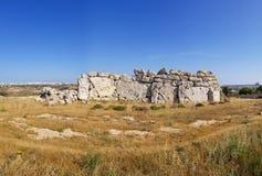 Ggantija寺庙和海岛戈佐岛,马耳他全景  库存图片