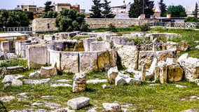 Ggantija neolithic monolith-temple Stock Images