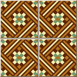 Ggeometry Mosaik des Keramikziegelmusters 387 quadratische Kontroll Stockbilder