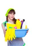 Ggirl准备好春季大扫除 免版税库存图片