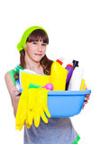Ggirl ready for spring cleaning. Happy girl ready for spring cleaning Royalty Free Stock Images