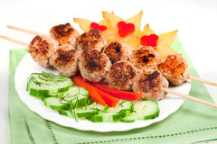 Ggrill meat with vegetables Stock Photos