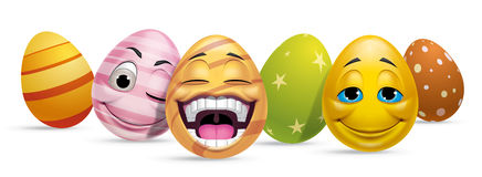 Ggroup of Easter eggs characters Royalty Free Stock Photos