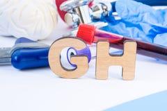 GH akronim w przedpolu w laboranckiej praktyce znaczy, skrót lub lub, z zdjęcie stock