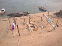 Ghaat του Varanasi, Ινδία Στοκ εικόνα με δικαίωμα ελεύθερης χρήσης