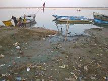 Ghaat av Varanasi, Indien Arkivfoto