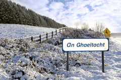 An ghaeltacht sign in irish snow scene Royalty Free Stock Images