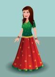 传统印地安礼服的- ghagra印地安妇女 免版税库存图片