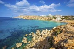Ghajn Tuffieha, Malta - Panoramic skyline view of Golden Bay Stock Photos