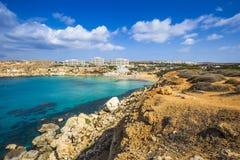 Ghajn Tuffieha, Malta - Panoramic skyline view of Golden Bay Stock Image
