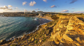 Ghajn Tuffieha, Malta - Panoramic skyline view of Golden Bay Royalty Free Stock Images