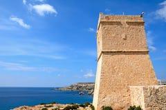 Ghajn Tuffieha Watchtower, Golden Bay. Royalty Free Stock Photography