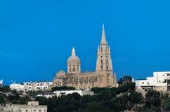 Ghajnsielem Farny kościół, Mgarr Maltańska wyspa Gozo fotografia stock