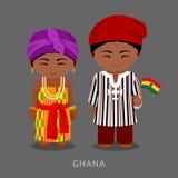 Ghanéen dans des vêtements nationaux avec un drapeau illustration libre de droits