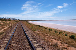 Ghan Railway. Next to Lake Hart stock images