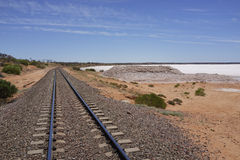 The Ghan and salt Lake Hart. The Ghan Railtrack and Lake Hart, Australia royalty free stock photo