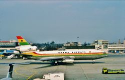 Ghana Airways McDonnell Douglas DC-10-30 Taxiing Frankfort International Airport, Germany after a flight from Kotoka, Ghana. Stock Photos