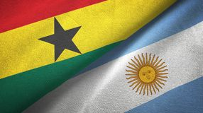 Ghana and Argentina two flags textile cloth, fabric texture. Ghana and Argentina flags together textile cloth, fabric texture stock illustration