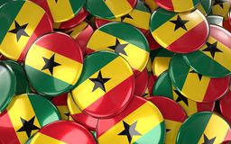 Ghana Badges Background - Pile of ghanaian Flag Buttons. Royalty Free Stock Images