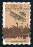 Postage stamp. GHANA - CIRCA 1978: Wright Biplane and crowd, circa 1978 stock photos