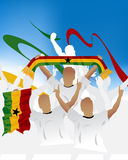 Ghana crowd. Crowd of soccer people fan and three soccer players with scarf and flag Royalty Free Stock Photography