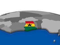 Ghana on 3D globe Royalty Free Stock Image