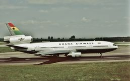 Ghana drogi oddechowe Douglas DC-10-30 przygotowywający latać do domu Fotografia Stock