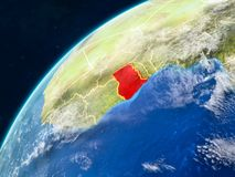 Ghana on Earth with borders. Ghana on realistic model of planet Earth with country borders and very detailed planet surface and clouds. 3D illustration. Elements royalty free stock image