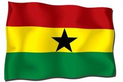 Ghana Flag. Flag of Ghana waving in the wind stock illustration