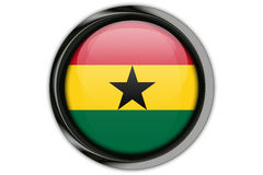Ghana flag in the button pin Isolated on White Background Royalty Free Stock Photo