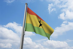 Ghana Flag with Clouds Royalty Free Stock Photo