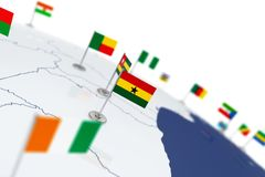 Ghana flag. Country flag with chrome flagpole on the world map with neighbors countries borders. 3d illustration rendering flag Royalty Free Stock Images