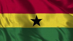 Ghana Flag - Realistic 4K. 30 fps flag of the Ghana waving in the wind. Seamless loop with highly detailed fabric texture. Loop ready in 4k resolution stock footage