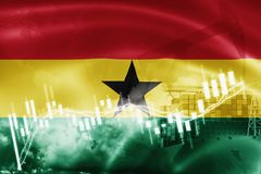 Ghana flag, stock market, exchange economy and Trade, oil production, container ship in export and import business and logistics. Africa, african, background vector illustration