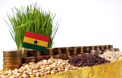 Ghana flag waving with stack of money coins and piles of wheat Stock Photography