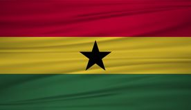 Ghana flaga wektor Wektor flaga Ghana blowig w wiatrze royalty ilustracja