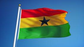 Ghana-Flagge in der Zeitlupe schlang nahtlos sich mit Alpha lizenzfreie abbildung