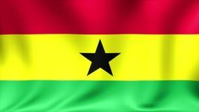 Ghana-Flagge Hintergrund-nahtlose Schleifungsanimation Video der hohen Auflösung 4K stock video