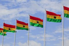 Ghana flags. At Independance square Stock Photos