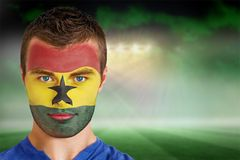 Ghana football fan in face paint Royalty Free Stock Photos