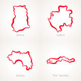 Ghana, Gabon, Guinea and The Gambia - Outline Map. Outline map of Ghana, Gabon, Guinea and The Gambia marked with red line Stock Photo