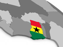 Ghana on globe with flag Stock Photo