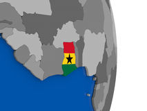 Ghana on globe with flag Royalty Free Stock Photo