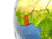 Ghana on globe Royalty Free Stock Image