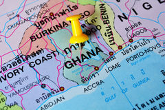 Ghana map. Macro shot of ghana map with push pin royalty free stock image